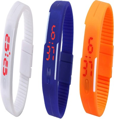 Twok Combo of Led Band White + Blue + Orange Watch  - For Men & Women