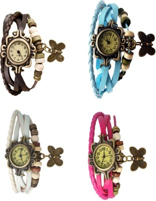 NS18 Vintage Butterfly Rakhi Combo of 4 Brown, White, Sky Blue And Pink Watch  - For Women