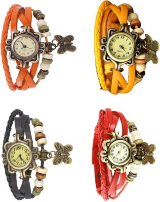 NS18 Vintage Butterfly Rakhi Combo of 4 Orange, Black, Yellow And Red Watch  - For Women