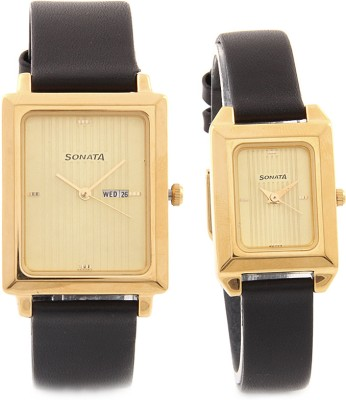 Sonata NC70788067YL04 Pairs Analog Watch For Couple