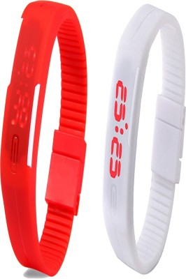 Twok Combo of Led Band Red + White Watch  - For Men & Women