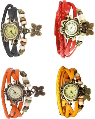 NS18 Vintage Butterfly Rakhi Combo of 4 Black, Orange, Red And Yellow Watch  - For Women