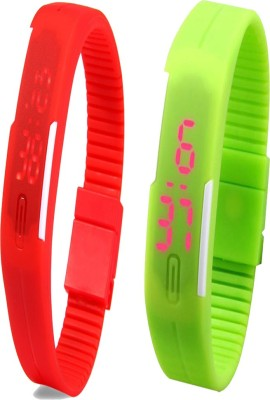 Twok Combo of Led Band Red + Green Watch  - For Men & Women