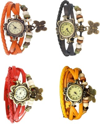NS18 Vintage Butterfly Rakhi Combo of 4 Orange, Black, Red And Yellow Watch  - For Women