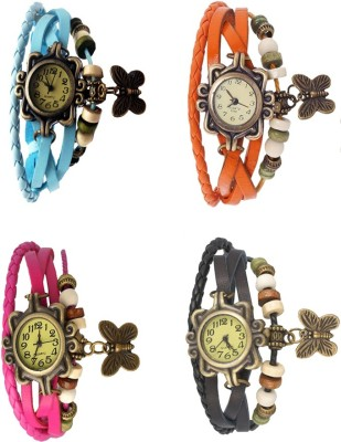 NS18 Vintage Butterfly Rakhi Combo of 4 Black, Pink, Sky Blue And Orange Watch  - For Women