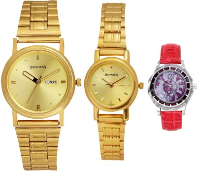Sonata IUJH75 TRIPLET DAY N DATECOMBO Watch  - For Couple