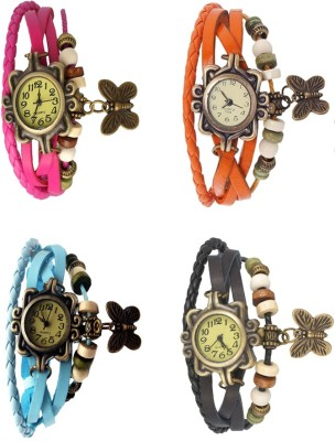 NS18 Vintage Butterfly Rakhi Combo of 4 Pink, Sky Blue, Orange And Black Watch  - For Women