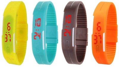 Kissu Led Magnet Band Combo of 4 Blue, Sky Blue, Pink And Yellow Watch  - For Men & Women