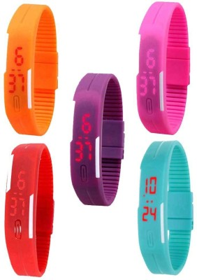 Kissu Led Magnet Band Combo of 5 Orange, Pink, Purple, Red And Sky Blue Watch - For Men & Women
