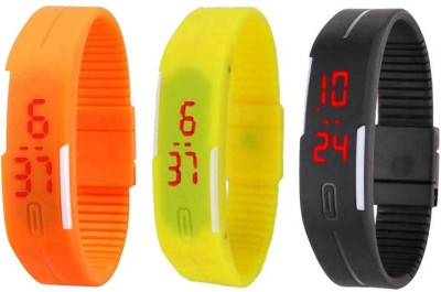 RSN Silicone Led Magnet Band Combo of 3 Orange, Yellow And Black Digital Watch  - For Men & Women