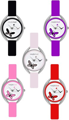 VALENTIME New Designer Branded Different Color Diwali Offer Combo5 Valentine Love1to5 Watch  - For Women