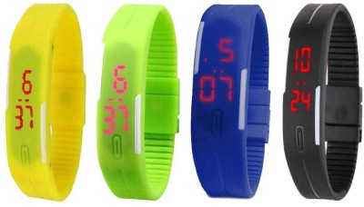Kissu Led Magnet Band Combo of 4 Yellow, Black, Blue And Green Watch  - For Men & Women