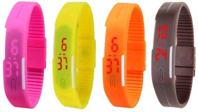 NS18 Silicone Led Magnet Band Combo of 4 Pink, Yellow, Orange And Brown Watch  - For Boys & Girls