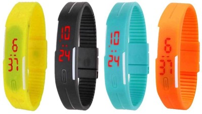 NS18 Silicone Led Magnet Band Combo of 4 Yellow, Black, Sky Blue And Orange Watch  - For Boys & Girls