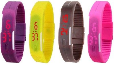 Fashion Gateway Purple Pink Yellow Nevy Blue and Black Led Magnet Band (pakc of 5) Watch  - For Boys & Girls
