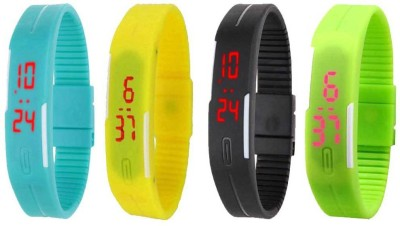 Kissu Led Magnet Band Combo of 4 Sky Blue, Yellow, Black And Green Watch  - For Men & Women
