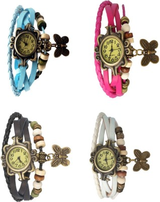 NS18 Vintage Butterfly Rakhi Combo of 4 Sky Blue, Black, Pink And White Watch  - For Women