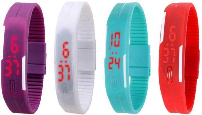 Kissu Led Magnet Band Combo of 4 Red, Purple, White And Sky Blue Watch  - For Men & Women