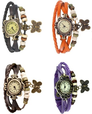 NS18 Vintage Butterfly Rakhi Combo of 4 Black, Brown, Orange And Purple Watch  - For Women