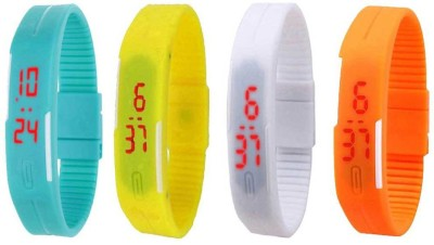 NS18 Silicone Led Magnet Band Combo of 4 Sky Blue, White, Yellow And Orange Watch  - For Boys & Girls