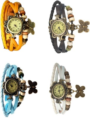 NS18 Vintage Butterfly Rakhi Combo of 4 Yellow, Sky Blue, Black And White Watch  - For Women
