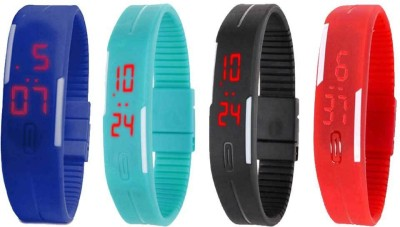 NS18 Silicone Led Magnet Band Watch Combo of 4 Blue, Sky Blue, Black And Red Watch  - For Couple