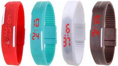 Kissu Led Magnet Band Combo of 4 Red, Sky Blue, White And Brown Watch  - For Men & Women
