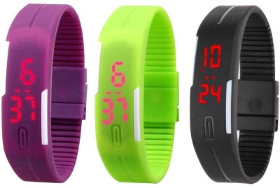 RSN Silicone Led Magnet Band Combo of 3 Purple, Green And Black Digital Watch  - For Men & Women