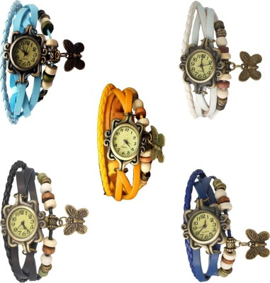 NS18 Vintage Butterfly Rakhi Combo of 5 Sky Blue, White, Yellow, Black And Blue Watch  - For Women