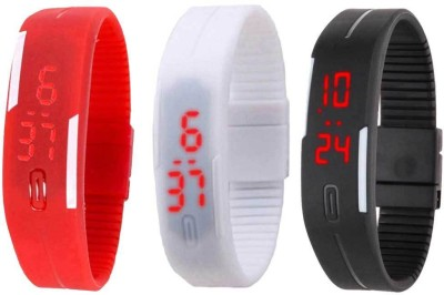 RSN Silicone Led Magnet Band Combo of 3 Red, White And Black Watch  - For Men & Women