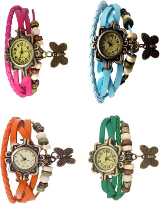 NS18 Vintage Butterfly Rakhi Combo of 4 Pink, Green, Orange And Sky Blue Watch  - For Women