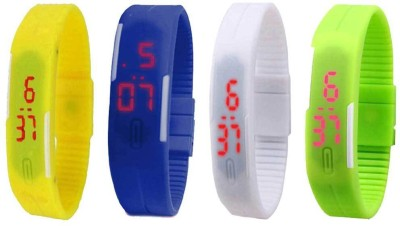 Kissu Led Magnet Band Combo of 4 Yellow, Blue, White And Green Watch  - For Men & Women