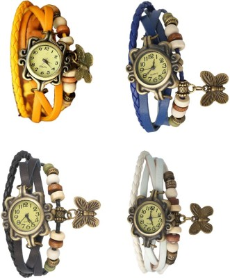 NS18 Vintage Butterfly Rakhi Combo of 4 Yellow, Black, Blue And White Watch  - For Women