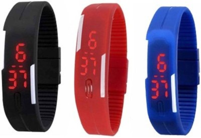 RSN Silicone Led Magnet Band Combo of 3 Red, Sky Blue And Black Watch  - For Men & Women