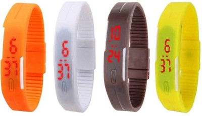 NS18 Silicone Led Magnet Band Combo of 4 White, Brown, Yellow And Orange Watch  - For Boys & Girls
