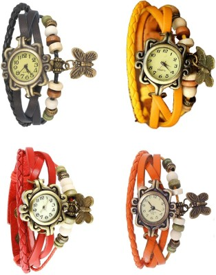 NS18 Vintage Butterfly Rakhi Combo of 4 Orange, Yellow, Black And Red Watch  - For Women