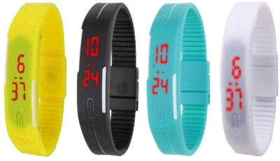 NS18 Silicone Led Magnet Band Combo of 4 Yellow, Black, Sky Blue And White Watch  - For Boys & Girls