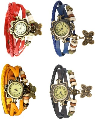 NS18 Vintage Butterfly Rakhi Combo of 4 Red, Yellow, Blue And Black Watch  - For Women