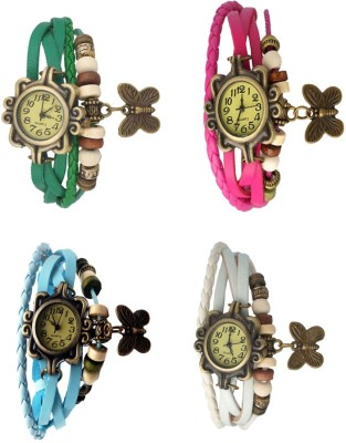 NS18 Vintage Butterfly Rakhi Combo of 4 Sky Blue, White, Pink And Brown Watch  - For Women
