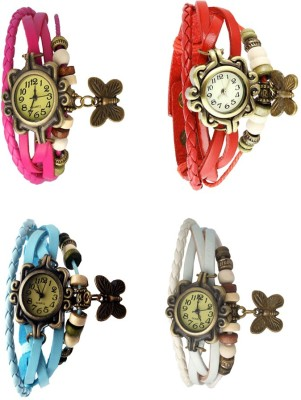 NS18 Vintage Butterfly Rakhi Combo of 4 Pink, Sky Blue, Red And White Watch  - For Women