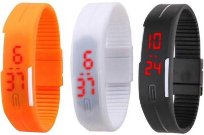 RSN Silicone Led Magnet Band Combo of 2 Sky Blue And Black Watch  - For Men & Women