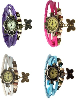 NS18 Vintage Butterfly Rakhi Combo of 4 Purple, White, Pink And Sky Blue Watch  - For Women