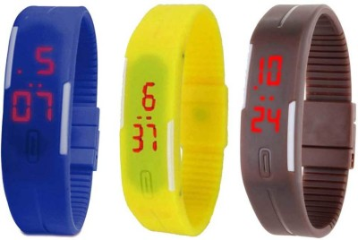 RSN Silicone Led Magnet Band Combo of 3 Blue, Yellow And Brown Watch  - For Men & Women