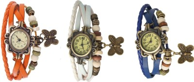 Kissu Vintage Rakhi Watch Combo of 3 White, Sky Blue And Orange Watch  - For Women