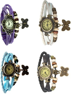 NS18 Vintage Butterfly Rakhi Combo of 4 Purple, Sky Blue, White And Black Watch  - For Women