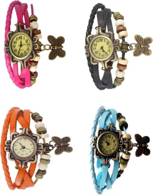 NS18 Vintage Butterfly Rakhi Combo of 4 Pink, Orange, Black And Sky Blue Watch  - For Women