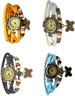 NS18 Vintage Butterfly Rakhi Combo of 4 Yellow, Black, White And Sky Blue Watch  - For Women