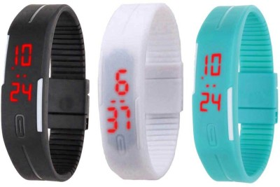 NS18 Silicone Led Magnet Band Combo of 3 Black, White And Sky Blue Watch  - For Boys & Girls