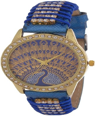 GT Gala Time Peacock Printed Design Blue Color Leather Strap Watch  - For Women