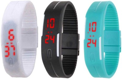 NS18 Silicone Led Magnet Band Combo of 3 Sky Blue, White And Green Watch  - For Boys & Girls